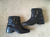 Just Fab Black Leather Booties(Size 7.5) Silver Spring