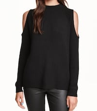 H&M Black Cold-Shoulder Ribbed Sweater Size M Dunn Loring, 22027