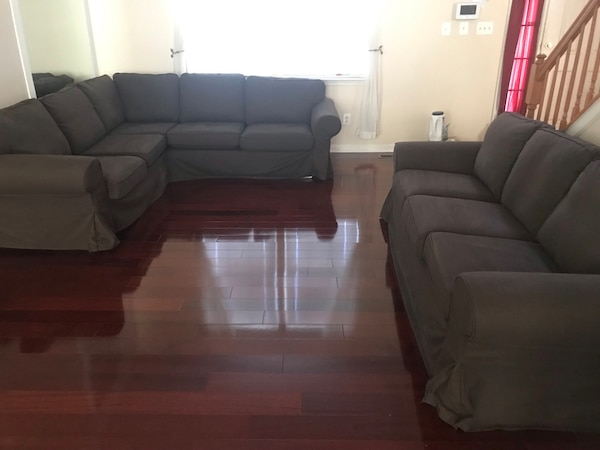 Ikea Brown and addition Tan cover 3 piece tufted sofa set 0