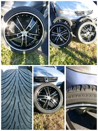 four black 5-spoke vehicle wheel and tire set collage Miami, 33169