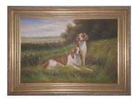 Oil Painting Springer spaniel dogs in landscape with gold frame Newport Beach