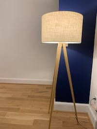 Modern linen shade floor lamp