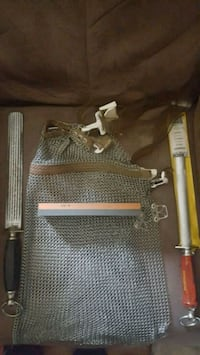 Sharpening and meat cutting tools and mesh apron and knives  Hamilton, L9C