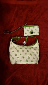 white and green Dooney & Bourke leather crossbody  555 mi