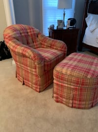 Kravet fabric upholstered chair and ottoman