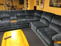 gray suede sectional couch with throw pillows Ottawa, K2P 0B7