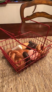 kids red wire shopping basket  with  play food donuts and breads Toms River