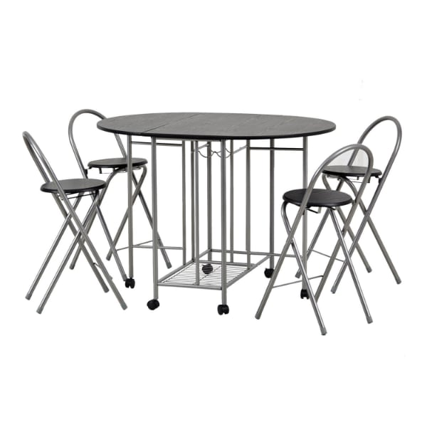 Homycasa Folding Set of 4 Dining Table and Chairs with Wheels (BLACK)