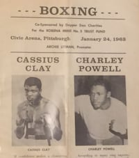 Original Onsite Fight Program Cassius Clay Charley Powell Pittsburgh, 15203