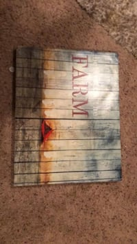 gray, white and red Farm printed board
