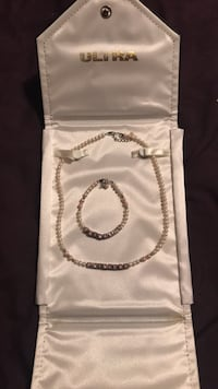 freshwater pearl necklace and bracelet set for baby girl