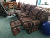 brown and red floral fabric sofa set Edgewater, 21037