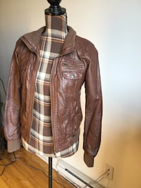 Brand new garage brown leather jacket in xsmall/small Montréal, H1P 2W8