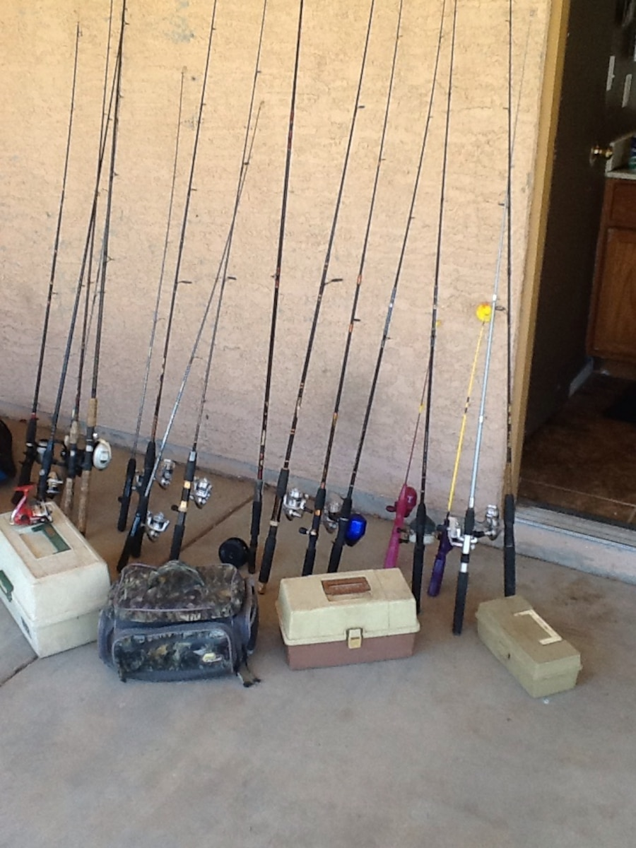 Used fishing poles and tackl boxes for sale in phoenix for Used fishing gear for sale