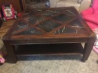 Rolling coffee table with shelf very heavy marble wood West Monroe, 71292