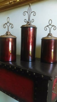 3 Ruby Red Decor Canisters Taylors, 29687