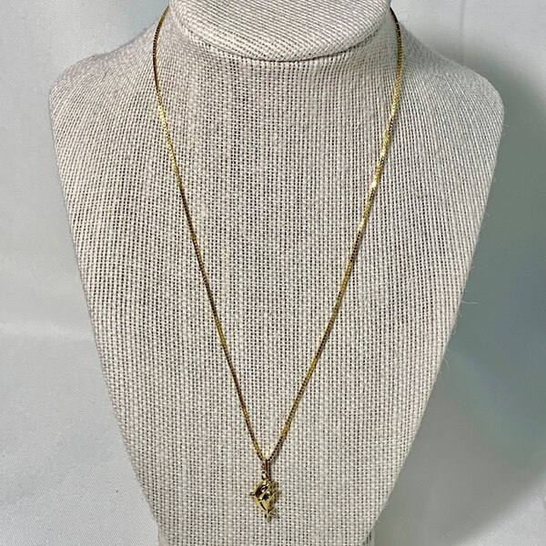 14k Gold Dolphin Pendant with 14k Box Chain