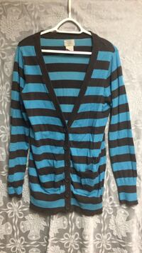Black and brown  stripes button-up cardigan
