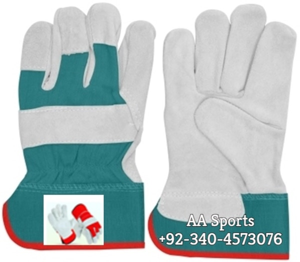 Working Leather back fabric gloves, mechanic, garden, cotton, arc, mig, tig, gas