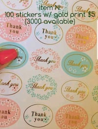3000 Thank you stickers w/ gold print Mississauga, L5B 1T7