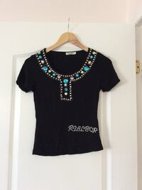 Black and blue studded scoop-neck short-sleeved top