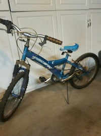 blue and white Pacific full-suspension bike
