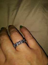 NEW Antiqued sterling. Amythist and CZ Size 5