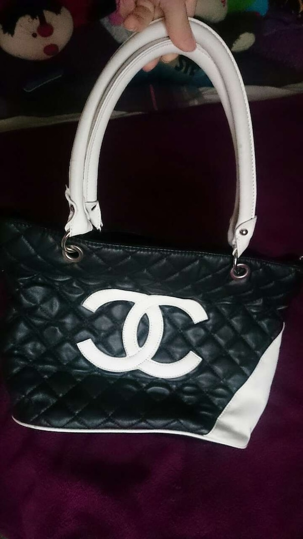 e9ce28b59b82 Used black and white leather chanel handbag for sale in Normanton ...