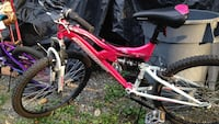 red and white Mongoose full-suspension mountain bike Cohutta, 30710