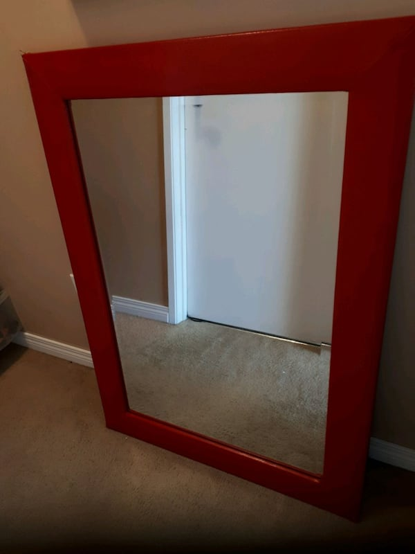 Red vinyl framed beveled heavy mirror 1
