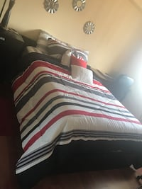 white, red, and black striped bed comforter Miami, 33137