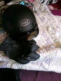 Ladies motorcycle gear. Gloves size XL, helmet size L
