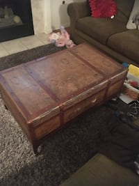 Old map coffee table with sliding drawer