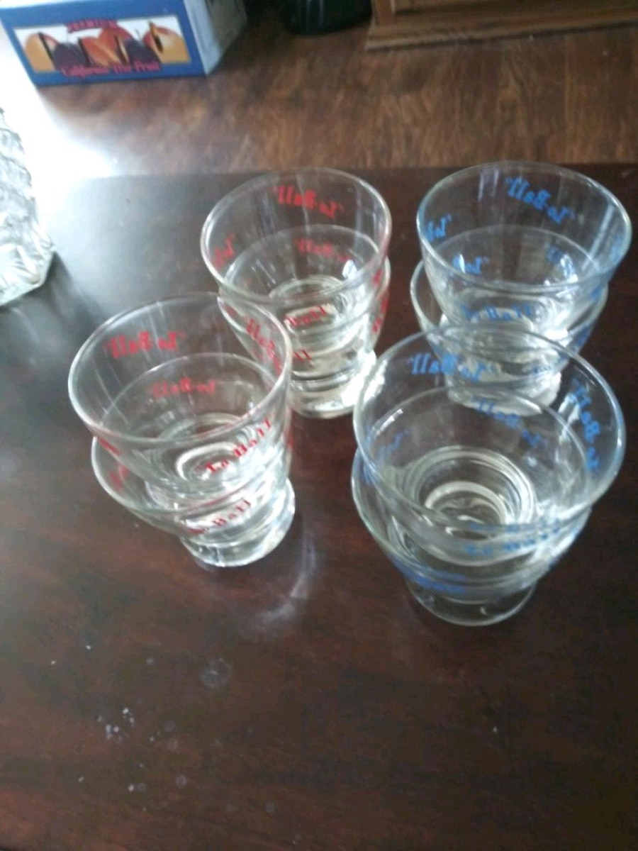 Photo 8 Drink Glassware Blue & Red Lo-Ball Set
