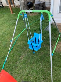 Green and blue swing chair.