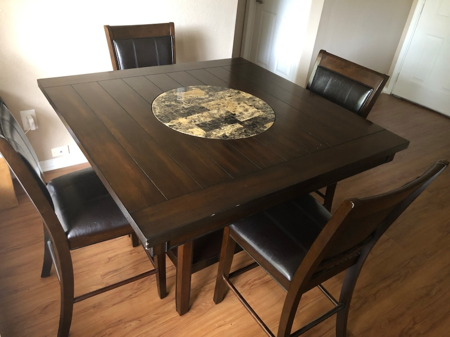 Incroyable Used Dining Table (with Built In Lazy Susan) And 4 High Chairs For Sale In  Plano   Letgo