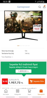 "Gamepower GPR27C144 27"" 1ms (Display+HDMI+DVI) FreeSync Full Hd Altınşehir, 34494"