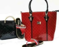 women's one black and one red leather tote bags