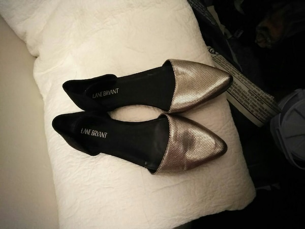 pair of black-and-gray d'orsay heeled shoes