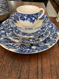 Vintage blue & white dishes 12 place settings