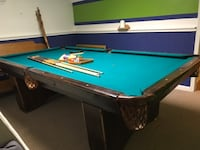 blue and brown pool table