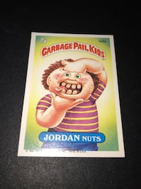 "Vintage 1986 Garbage Pail Kids ""Jordan Nuts "" card"