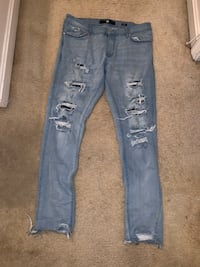 Men's Skinny Blue Distressed Jeans Capitol Heights, 20743