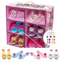 Shoes and Jewelry Boutique – Little Girl Princess Play Gift Set with 4 Pairs of Shoes, Collection of Earrings, Bracelets Rings – Great for Dress Up & Group Play – The Perfect Girl Gift! Anniston