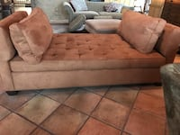 brown suede tufted sofa with throw pillows Seattle, 98125