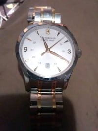 round silver-colored analog watch with link bracelet Odessa, 79765