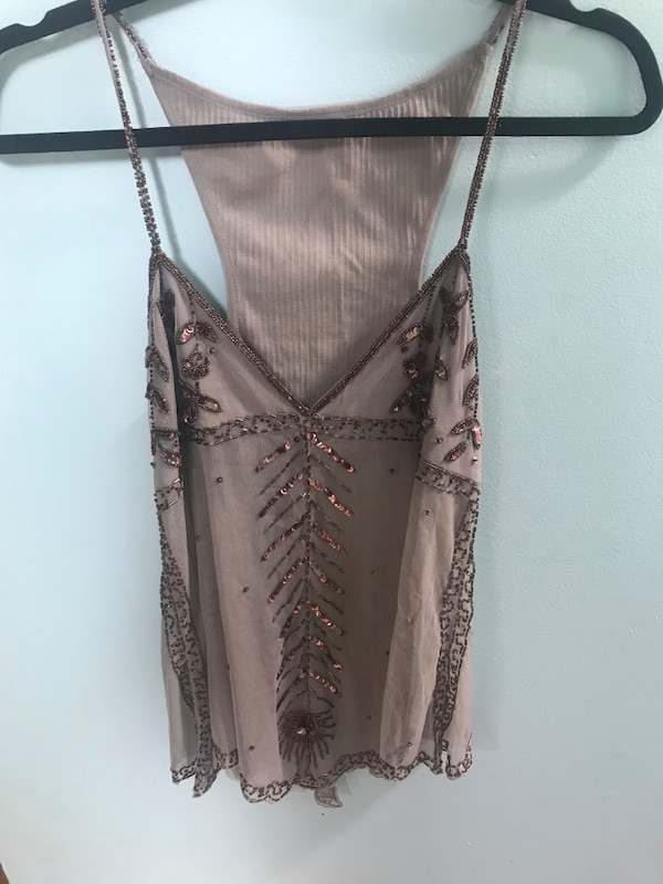 Free People Sheer Beaded Top Large