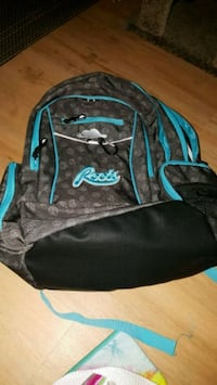 black and blue ROOTS backpack 1960 km