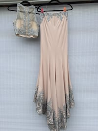 Tiffany prom dress size 6 worn once taupe with gunmetal beading Thaxton, 24174