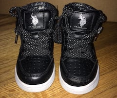 Us polo assn. high top black sparkly sneakers girls